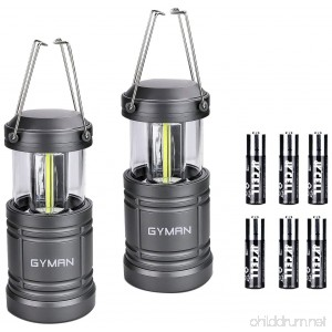 GYMAN Led Lantern Camping Lantern(2 Pack Collapsible) with 6 AA Batteries Ultra Bright with Magnetic Base Best Camping Equipment Gear Survival Kit for Emergency Hurricane Power Outage and Repairing - B076GZ5L62