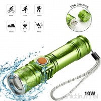 Leacoco Flashlights Led Bright MINI USB Rechargeable Camping Flashlights with Lanyard Adjustable Focus and 5 Light Mode Outdoor Water Resistant for Camping Hiking and Emergency etc. (Green) - B075SZ5HZN