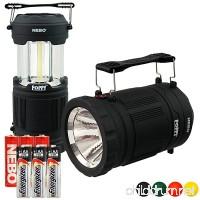 Nebo 6555 Poppy LED Spot Light Flashlight Pop-up Lantern with 3x Extra Energizer AA Batteries (Black) - B072M82JRP