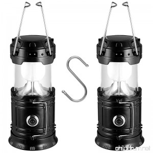 Solar Camping Lantern 2 Pack Solar Powered Flashlights LED Battery Lanterns with S Hook - Survival Kit for Power Outage Hurricane Emergency(Black) - B07D2B6FNH