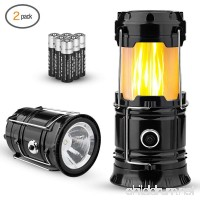 TANSOREN 2 Pack Portable LED Camping Lantern  [2018 UPGRADED][3-IN-1] Decorative Flame light Ultra Bright Flashlights with S and 6 AA Batteries Collapsible Survival Kit for Emergence  Outdoor - B07D7Q4T1D