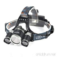 Mifine 5000 Lumens Led Headlamp Flashlight Waterproof 4 Modes Hands Free Headlight with 2 18650 Rechargeable Batteries USB Cable Wall Charger and Car Charger for Outdoor Sports - B00ZI9QKSE