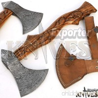 Custom Hand Forged Damascus Steel Axe / Hatchet  Carving Work Wood Handle - B076VT5187