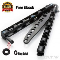 Anlado Balisong Butterfly Knife Trainer Practice with O-ring Latch - Enhanced Version - Black Metal Steel - no Offensive Blade - for Beginner  Children  Butterfly Knives Lover and more - B06W5KSDY5