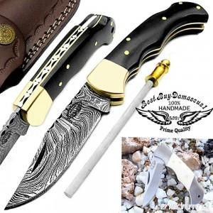 Buffalo Horn 6.5'' Custom Handmade Damascus Steel Brass Bolster Back Lock Folding Pocket Knife 100% Prime Quality Sharpening Rod Plus Camel Bone Stainless Steel Mini Pocket Knive - B00YQIW99C