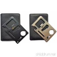 Tuncily 2 Pack (Black and Silver) Credit Card Survival Tool - 11 in One Multipurpose Beer Bottle Opener Portable Wallet Size Pocket Multitool - B01MQCS2UV