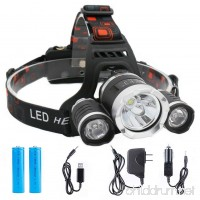 Focuszum 3T6 Led Headlamp Rechargeable 12000 Lumen Waterproof Flashlight Zoom 4 Mode With Battery AC Car USB Charger For Camping - B07922CC8K