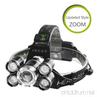 LED Headlamp Flashlight X-BALOG Zoomable 5 Light 4 Modes 2300 Lumen Rechargeable 18650 Headlight Flashlights High Power Waterproof Headlamps LED for Camping  Biking Hunting  Fishing and Running - B0746GFRZS
