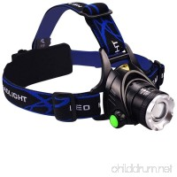 Tech Trio Super Bright LED 1800 Lumens Headlamp with Rechargeable Batteries and Car Charger and AC Charger and USB Cable - B01BWDNWKI