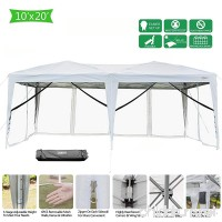 VINGLI 10' x 20' Mesh Sidewalls POP UP Tent  Anti-Mosquito Screen Canopy  Instant Setup Gazebos  6 Translucent Sides Doors  Windproof Sturdier Frame  99% Anti-UV  Heavy Duty Wheeled Carry bag  White - B07CYPBDFC