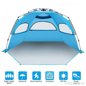 BATTOP 4-5 Person Instant Beach Tent Sun Shelter - Easy Pop Up Sun Shade for Beach - Deluxe X-Large for Family - B079DR6T37