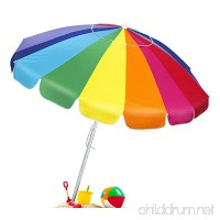 Best Choice Products 8ft OversizedTilt Rainbow Beach Umbrella w/Carrying Case and Anchor - Multicolor - B072M8B15W