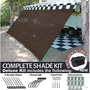 RV Awning Shade Motorhome Patio Sun Screen Complete Deluxe Kit (Brown) (8x14) - B07419LH22