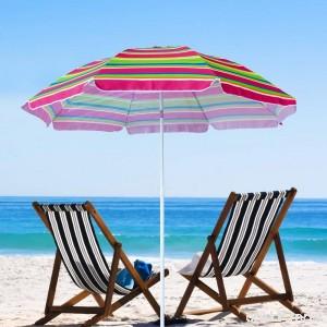 Snail 6.5' Tilting Beach Umbrella with Aluminum Pole & Fiberglass Ribs Rainbow Fabric - B078KHK1HD