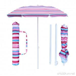 SNAIL 6ft Folded Beach Umbrella with Tilt Portable Silver Coating Inside UV Protection Stripe - B078KFDL7T