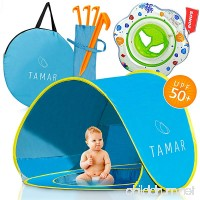 TAMAR 2018 Baby Beach Tent: Toddlers and Tots Blue Pop-Up Sun Shelter with mini Pool and Detachable Shade Lightweight 50 SPF UV Protection with Carry Bag And A Bonus Baby Swimming Ring - B073THBQN9