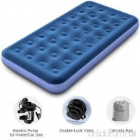 LANGRIA Upgraded Twin Size Inflatable Air Bed 8.5-Inches Air Mattress Bed with Handheld Electric Pump Storage Bag and 2 Power Adapters and Repair Kit (74 x 39 x 8.5 inches  Blue) - B073PX8WN7